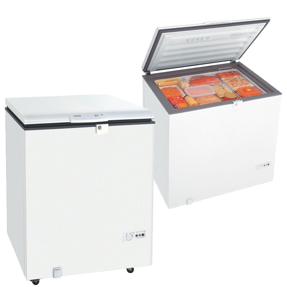 freezer horizontal aberto e fechado