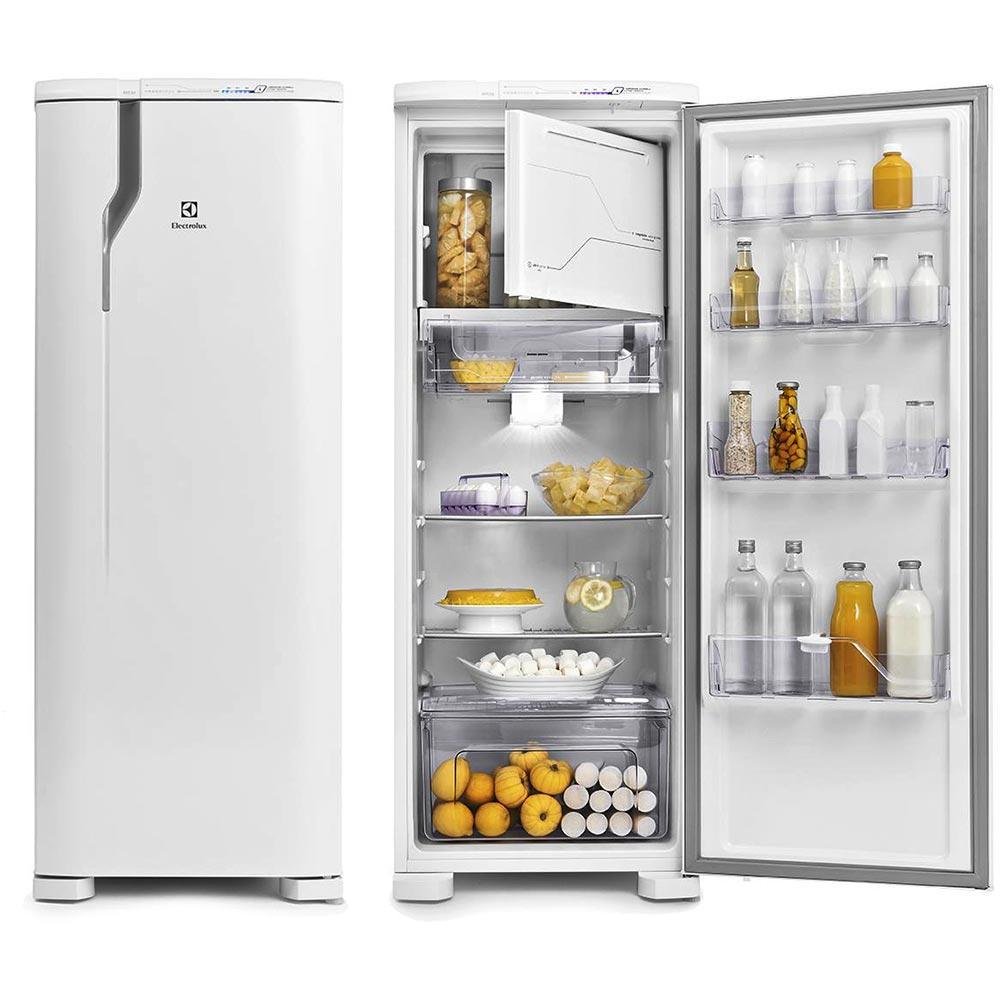 geladeira de uma porta aberta e fechada
