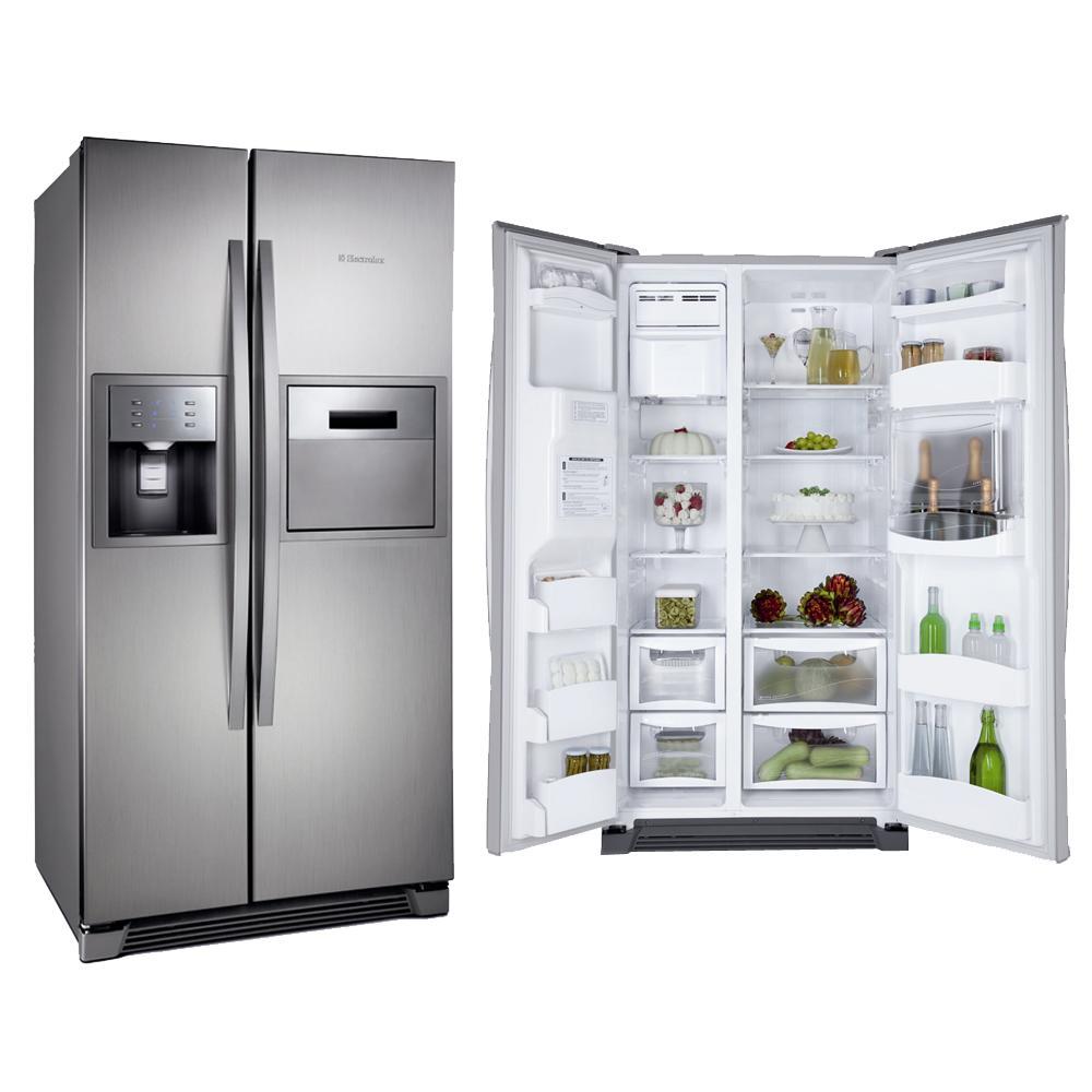 geladeira side by side aberta e fechada