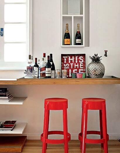 barzinho em casa com bebidas