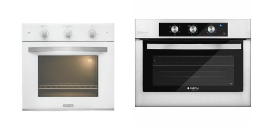 Dois fornos de Embutir. O primeiro, da marca BLT, de 50L, e o segundo, da marca Cadence, de 45L.